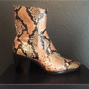 Zara Snakeskin Square Toe Booties